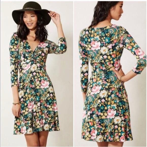 8364b916b26b9 VGUC Anthro Lilka Bright Floral Jersey Twist Dress