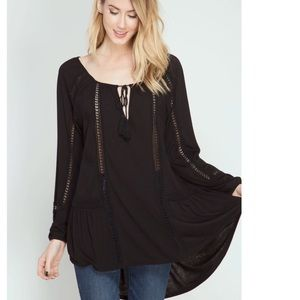 She and Sky Tops - 3/4 SLEEVE PEASANT TUNIC TOP