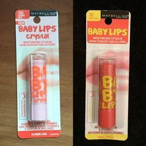 Maybelline Other - Baby Lips!!! Coral Crush #70 & Crystal Coral #135