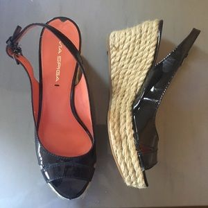 Via Spiga Shoes - Via Spiga black slingback wedge espadrilles 7.5