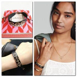 Stella Dot Terra Leather Wrap Bracelet  Black