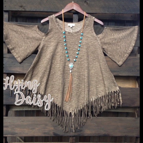 Plus Size Fringe Cold Shoulder Tunic Top Cowgirl Boutique