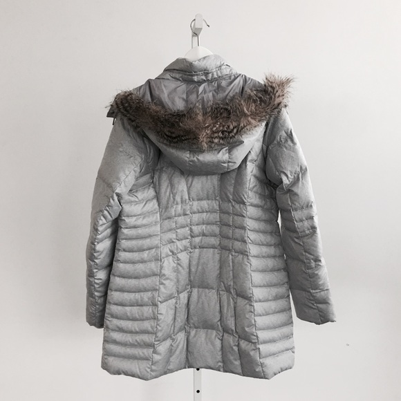 Eddie Bauer Jackets & Coats - Grey Hooded Down Puffer Parka with Faux Fur Trim