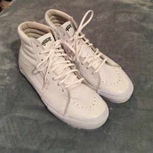 Vans Shoes - White leather high top vans