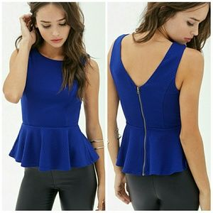 Forever 21 Tops - F21 Textured Peplum Zipper Top