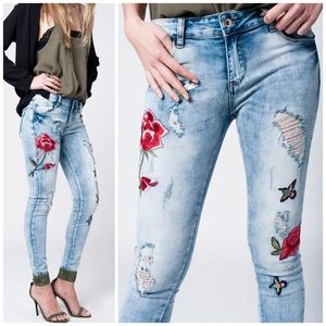 Threads & Trends Denim - 🌸Distressed Embroidered Jeans