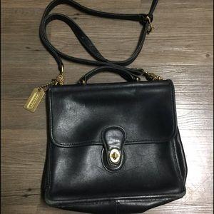 Vintage Coach Black Leather Willis Bag