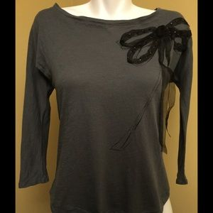 SALEGrey Blouse with Large Bow