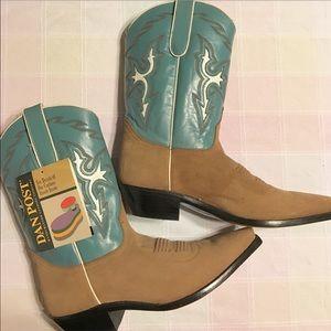 Dan Post Cowboy Boots Blue & Tan