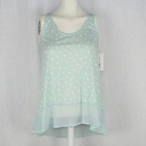 Maison Jules Tops - Maison Jules Womens Blue Slub Polka Dot Sleeveless