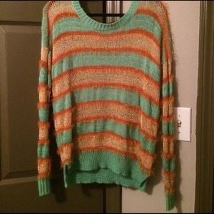 Super soft and fuzzy striped sweater
