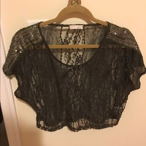 Forest Green Lace Embellished Crop Top