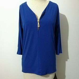 Carmen Marc Valvo Tops - V Neck Cobalt Blouse