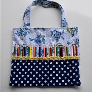 Handbags - Handmade Coloring Tote. Map pencils/Gel Pens
