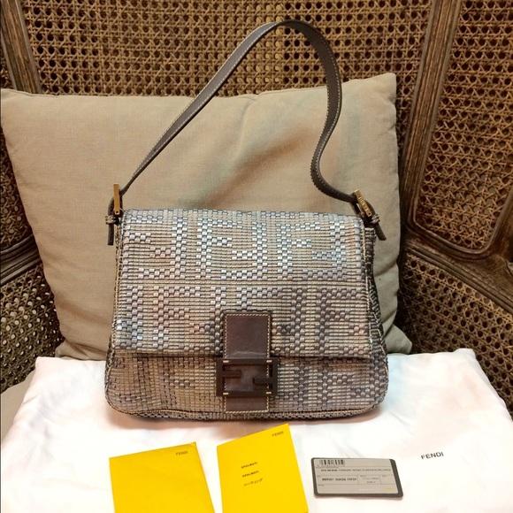 1eaa32ea5478 Fendi Handbags - 🛑SOLD🛑 Silver Woven Leather Forever Mama Bag
