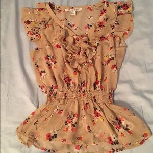Chiffon tan & floral blouse with elastic waistband