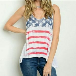 WILA Tops - American flag tank top