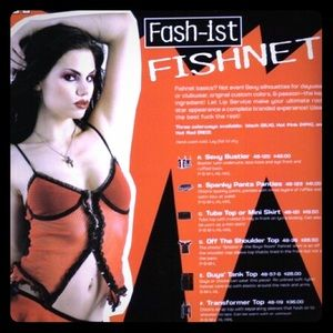 VTG Lip Service sexy fishnet bustier tank top L XL