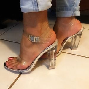 "KORS Michael Kors Shoes - 4"" silver clear heels"