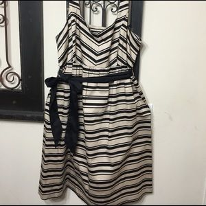 Black and Tan Striped Maternity Dress