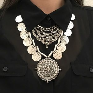 Jewelry - Compass and Coin Statement Necklace