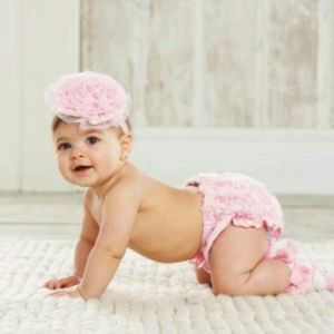 Mud Pie Other - Mud Pie Pink Rose Diaper Cover