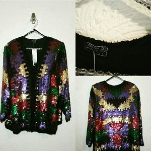 Jackets & Blazers - Puzzle Piece Multi Color Sequins and Beaded Jacket