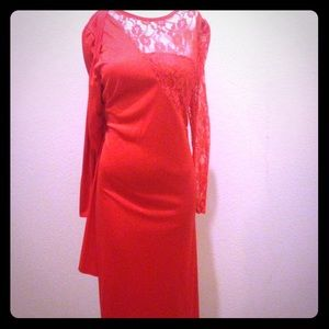 80's vintage red lace dress