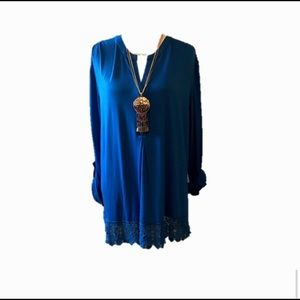 Curvy Couture Tops - Blue Embroidery Embellished Knit Top Roll Sleeve