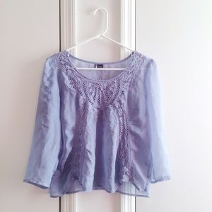 Urban Outfitters Tops - Urban Outfitters Crochet Sheer Blouse