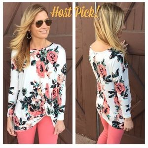 Infinity Raine Tops - Tunic- 🌸 Ivory Floral Side Knot Tunic 🌸