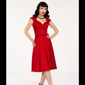 Pinup Girl Clothing Dresses & Skirts - Pinup Girl Clothing red Heidi dress
