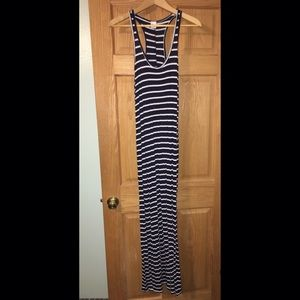 Dark blue with white stripes, maxi dress.