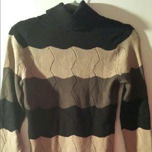 Sweaters - Striped Turtleneck Sweater Brown Green Black sz M