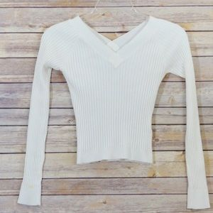 {Energie} White Ribbed Long sleeve Shirt