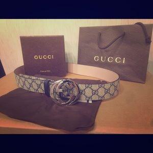 Gucci Other - New Gucci Beige/Blue signature monogram belt!!!!!