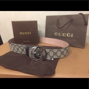 Gucci Other - New Gucci Beige/Blue signature monogram belt!!!!!