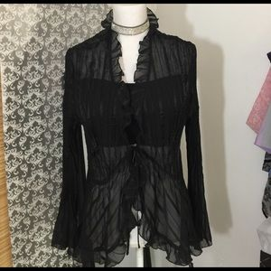 NY Collection Tops - Black long sleeve sheer top