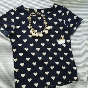 Tops - Navy and white heart short sleeved top