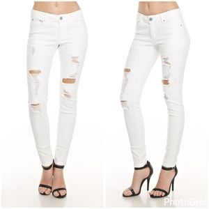 Denim - Opaque mid rise destroyed stretch skinny jeans