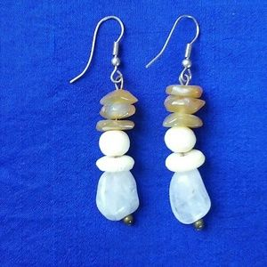 "Jewelry - Earth Tone Boho Natural Stone 2"" Earrings"