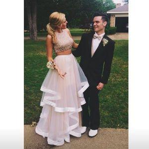 Prom Dress Sz 2 Champaign 2 Piece Worn Once