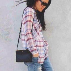 Zara Sheer Plaid Flannel Button Down Shirt