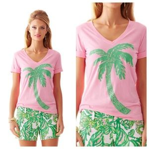 Lilly Pulitzer Let's Go Coconuts Graphic Tee Sz XS