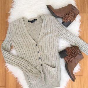 Ralph Lauren Sport Tan Cable Knit Cardigan Sz XS
