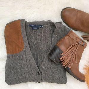 Ralph Lauren Gray Cable Knit Cardigan Sz M