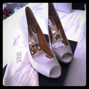 Badgley Mischka Shoes - New! Badgley Mischka Ponderosa Silfab Heel, Silver