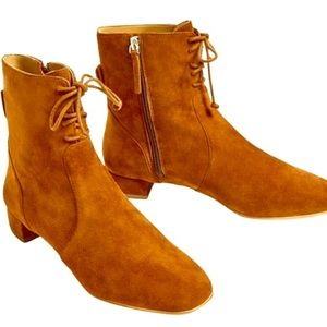 Zara lace up tan boot