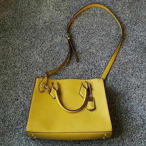 Pretty gold satchel purse with handles