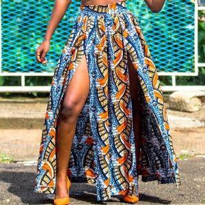 Boho Gypsy Sisters Dresses & Skirts - Printed bohemian tribal double slit skirt
